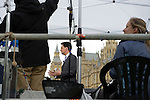 The day after Election Day at College Green (Abingdon Street Gardens) in Westminster, London. Photo shows Labour MP Ed Miliband being interviewed by Sky News.