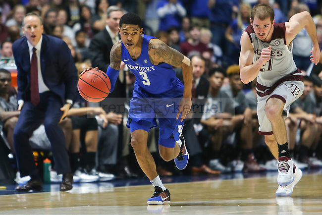 Guard Tyler UIis of the Kentucky Wildcats drives to the basket after a steal during the game against the Texas A&M Aggies at the SEC Tournament Championship at Bridgestone Arena in Nashville, TN, on Sunday, March 13, 2016. Kentucky defeated Texas A&M 81-77. Photo by Michael Reaves | Staff.
