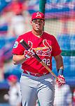 13 March 2016: St. Louis Cardinals first baseman Jonathan Rodriguez awaits his turn in the batting cage prior to a pre-season Spring Training game against the Washington Nationals at Space Coast Stadium in Viera, Florida. The teams played to a 4-4 draw in Grapefruit League play. Mandatory Credit: Ed Wolfstein Photo *** RAW (NEF) Image File Available ***