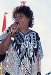 """Koko Taylor, Sept 1990, San Francisco Blues Festival. American blues musician, popularly known as the """"Queen of the Blues."""" She was known primarily for her rough, powerful vocals and traditional blues stylings."""