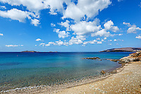 The wonderful beach at Agios Kyprianos in Andros, Greece