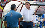 Alashkert FC v St Johnstone...02.07.15   Republican Stadium, Yerevan, Armenia....UEFA Europa League Qualifier.<br /> Tommy Wright shakes hands with Abrahim Khashmanyan<br /> Picture by Graeme Hart.<br /> Copyright Perthshire Picture Agency<br /> Tel: 01738 623350  Mobile: 07990 594431