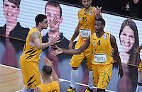 Basketball  1. Bundesliga  2016/2017  Hauptrunde  16. Spieltag  27.12.2016 Walter Tigers Tuebingen - MHP Riesen Ludwigsburg JUBEL Tigers; Isaiah Philmore (li) und Julian Washburn (re)