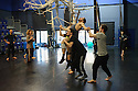 Cardiff, UK. 19.01.2016. National Dance Company Wales in the studio at Dance House, Wales Millennium Centre, rehearsing FOLK, choreographed by artistic director, Caroline Finn, in preparation for their Spring Tour 2016. Caroline Finn (second left) with the Company. Photograph © Jane Hobson.