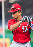 7 October 2016: Washington Nationals outfielder Ben Revere awaits his turn in the batting cage prior to the first game of the NLDS against the Los Angeles Dodgers at Nationals Park in Washington, DC. The Dodgers edged out the Nationals 4-3 to take the opening game of their best-of-five series. Mandatory Credit: Ed Wolfstein Photo *** RAW (NEF) Image File Available ***