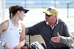 20 April 2016: Notre Dame head coach Jay Louderback (right) talks to Brooke Broda (left). The University of Notre Dame Fighting Irish played the University of Pittsburgh Panthers at the Cary Tennis Center in Cary, North Carolina in the first round of the Atlantic Coast Conference Women's Tennis Tournament. Notre Dame won the match 4-3.