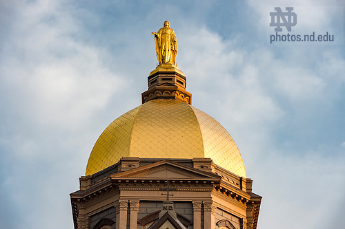September 23, 2016; Golden Dome atop the Main Building at sunrise. (Photo by Barbara Johnston/University of Notre Dame)