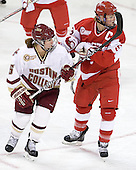 Alex Carpenter (BC - 5), Jenn Wakefield (BU - 9) - The visiting Boston University Terriers defeated the Boston College Eagles 4-1 on Wednesday, November 2, 2011, at Kelley Rink in Conte Forum in Chestnut Hill, Massachusetts.
