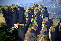 Kalambaka, Kastraki, Meteora, Greece, June 2006. Roussanou monastery. The Monastaries of Meteora can be found high on the steepest rocks, Photo by Frits Meyst/Adventure4ever.com