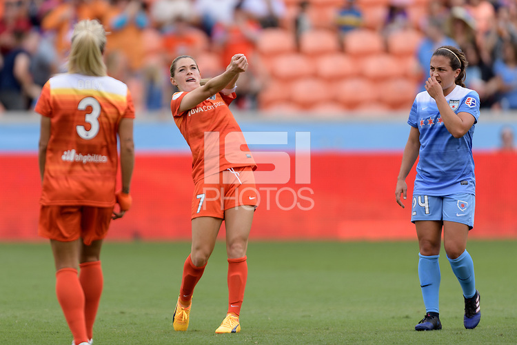 Houston, TX - Saturday April 15, 2017: Kealia Ohai celebrates her first goal during a regular season National Women's Soccer League (NWSL) match won by the Houston Dash 2-0 over the Chicago Red Stars at BBVA Compass Stadium.