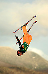 14 January 2005 - Lake Placid, New York, USA - Manuela Mueller representing Switzerland, competes in the FIS World Cup Ladies' Aerial acrobatic competition, ranking 23th for the day, at the MacKenzie-Intervale Ski Jumping Complex, in Lake Placid, NY. ..Mandatory Credit: Ed Wolfstein Photo.