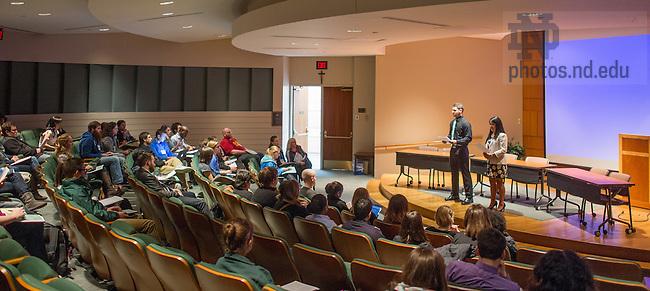 Mar. 28, 2014; Notre Dame student peace conference, 2014.<br /> <br /> Photo by Matt Cashore/University of Notre Dame