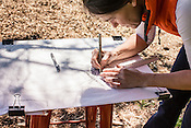 Durham, North Carolina - Wednesday March 30, 2016 - HUB Farm project manager Katherine Gill work on designs for an area intended to be a relaxing, enclosed sitting area.