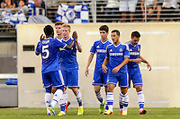 Chelsea F. C. midfielder Kevin De Bruyne (15) celebrates scoring. Chelsea F. C. defeated A. C. Milan 2-0 during round two of the 2013 Guinness International Champions Cup at MetLife Stadium in East Rutherford, NJ, on August 04, 2013.