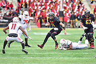 College Park, MD - NOV 26, 2016: Maryland Terrapins quarterback Perry Hills (11) escapes the pocket during the game between Maryland and Rutgers at Capital One Field at Maryland Stadium in College Park, MD. Maryland defeated Rutgers 31-13. (Photo by Phil Peters/Media Images International)