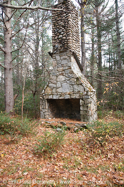 Old stone fireplace in the area of the abandoned Passaconaway Settlement in Albany, New Hampshire USA. This area was part of the Swift River Railroad era, which was a logging railroad in operation from 1906-1916.