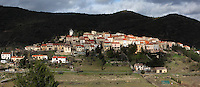 Cucugnan, a medieval village in Cathar Country,  Corbieres,  Aude, Languedoc Roussillon,  France. The village was immortalised in Alphonse Daudet's novel 'Lettres de mon moulin', written in 1866. Picture by Manuel Cohen