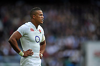 Anthony Watson of England looks on during a break in play. QBE International match between England and Ireland on September 5, 2015 at Twickenham Stadium in London, England. Photo by: Patrick Khachfe / Onside Images