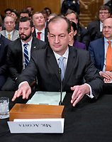 R. Alexander Acosta, Dean of Florida International University College of Law and United States President Donald J. Trump's nominee for US Secretary of Labor, arranges the table prior to his confirmation hearing before the US Senate Committee on Health, Education, Labor &amp; Pensions on Capitol Hill in Washington, DC on Wednesday, March 22, 2017.<br /> Credit: Ron Sachs / CNP /MediaPunch
