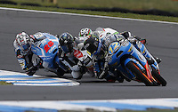 KTM Moto3 rider Alex Marquez of Spain leads the race during the Australian Motorcycle GP in Phillip Island, Oct 20, 2013. Photo by Daniel Munoz/VIEWpress IMAGE RESTRICTED TO EDITORIAL USE ONLY- STRICTLY NO COMMERCIAL USE.