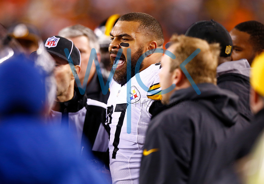Cameron Heyward #97 of the Pittsburgh Steelers yells from the sideline following an unsportsmanlike con dust penalty was given to offensive line coach Mike Munchak against the Cincinnati Bengals during the Wild Card playoff game at Paul Brown Stadium on January 9, 2016 in Cincinnati, Ohio. (Photo by Jared Wickerham/DKPittsburghSports)