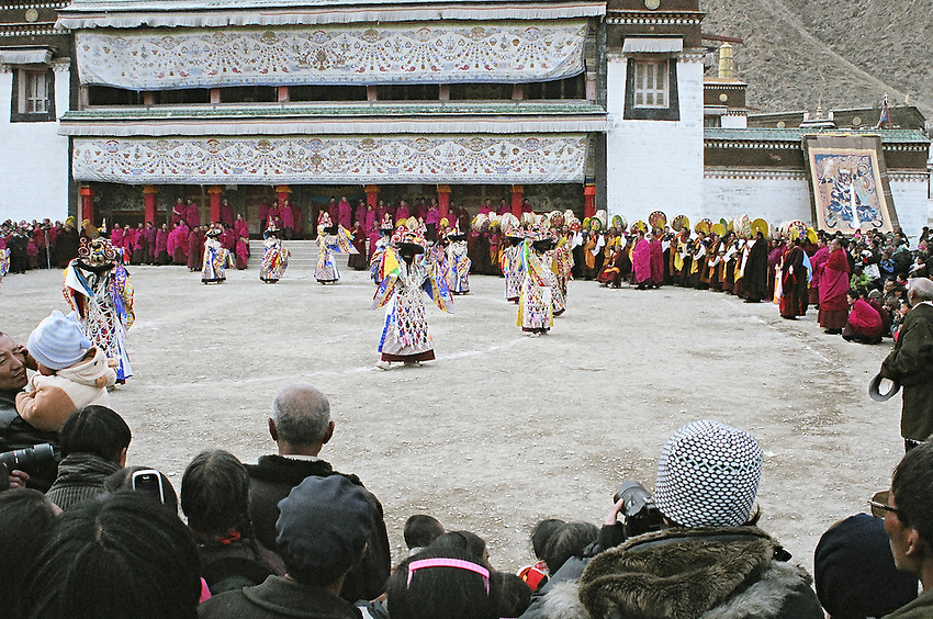 Tibetan &quot;Black Hat&quot; dancers in Labrang (Xiahe, Tibet )<br /> Black Hat dancers performing a Cham (dance of Spirits)<br /> Black Hat dancer are performing a Cham (dance of Spirits) in the monastery of Labrang, during Monlam Chenmo (the Great Prayer). The Chams dances symbolize the victory of the Dharma (the speech of Buddha) against its ennemies. Xiahe, China, March 3 2007.