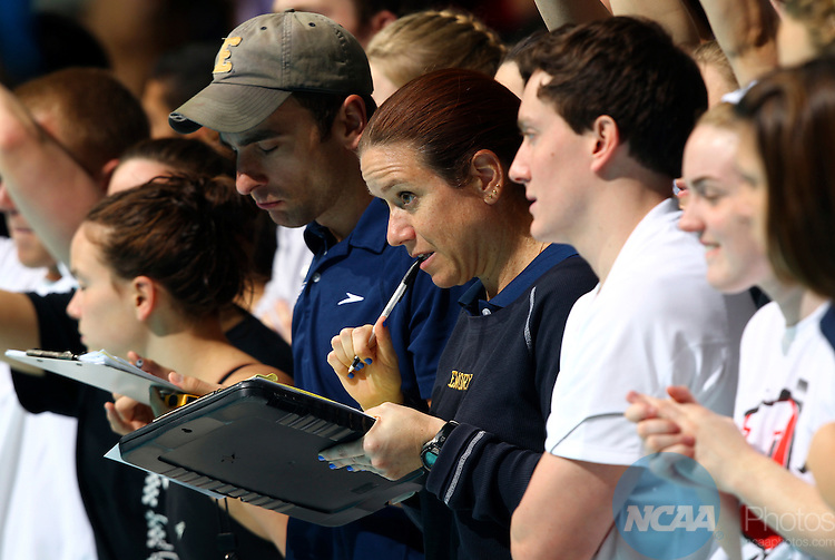 24 MAR 2012:  A member of the Emory coaching staff watches the 1650 yard freestyle event during the Division III Mens and Womens Swimming and Diving Championship held at the IU Natatorium in Indianapolis, IN.  Michael Hickey/NCAA Photos