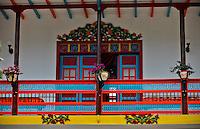 Details of a balcony in the town of Jardin in Antioquia August 1, 2012. Photo by Eduardo Munoz Alvarez / VIEW.