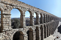 Roman Aqueduct, late 1st century - early 2nd century AD, Segovia, Castile and Leon, Spain. This aqueduct stretches from the walls of the old town to the edges of Sierra de Guadarrama (about 18km long). It is made of rough-hewn massive granite blocks, joined without mortar or clamps. Picture by Manuel Cohen