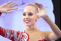 September 26, 2014 - Izmir, Turkey -  YANA KUDRYAVTSEVA of Russia celebrates AA gold medal win at 2014 World Championships.