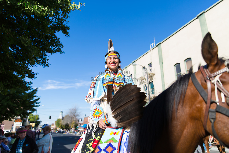 """The Native American or """"Indian"""" Beauty Pageant at the Pendleton Round Up Rodeo, Pendleton OR, USA"""