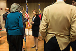 April 16, 2014. Durham, North Carolina.<br />  Senator Kay Hagan, center, spoke with the audience after an event to award a posthumous Bronze Star. Hagan has been largely absent from the campaign trail even as several Republican challengers have mounted campaigns to defeat her in this year's election.<br />  Kay Hagan (D),  US Senator from North Carolina, attended an event to honor the military service of Donald &quot;Buddy&quot; Moore, Hagan awarded Moore's widow Wanda a posthumous Bronze Star, as well as several other medals, for his service in World War II.