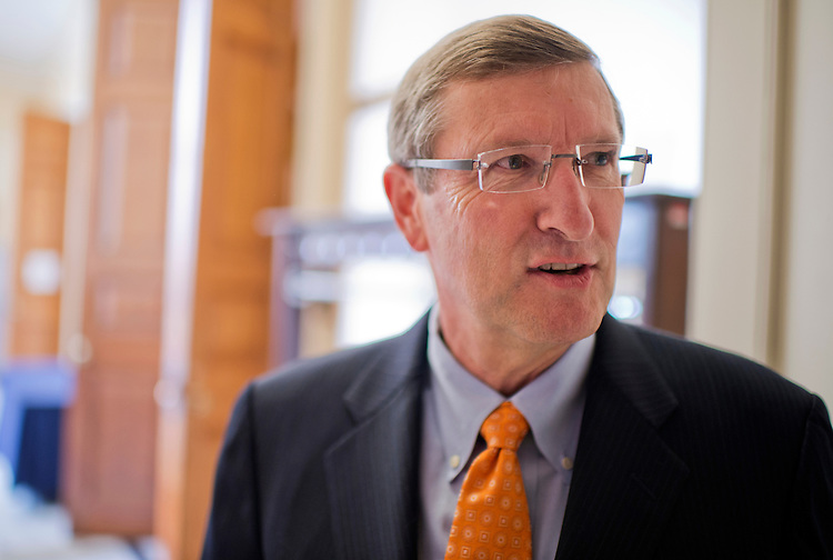 UNITED STATES - JULY 31:  Sen. Kent Conrad, D-N.D., talks with a reporter before senate luncheons in the Capitol.  (Photo By Tom Williams/CQ Roll Call)