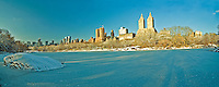 NYC, NY, Central Park, The Lake, NYC Skyline, Winter, Designed by Frederick Law Olmsted and Calvert Vaux, Central Park West
