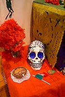 Offerings Mexican Day of the Dead or Dia de los Muertos altar.