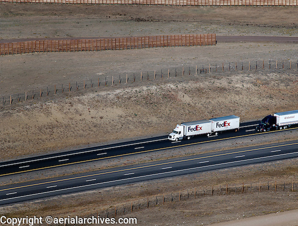 Aerial Photograph Fedex Freight Truck Interstate I 80