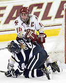 Arielle O'Neill (UNH - 8), Kelli Stack (BC - 16) - The Boston College Eagles and the visiting University of New Hampshire Wildcats played to a scoreless tie in BC's senior game on Saturday, February 19, 2011, at Conte Forum in Chestnut Hill, Massachusetts.