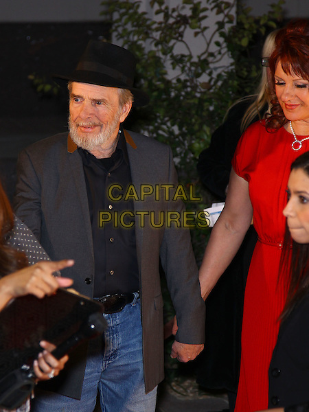Merle Haggard.Grand opening of The Smith Center for the Performing Arts, Las Vegas, Las Vegas, Nevada, USA, .10th March 2012..half length black hat shirt grey gray jacket .CAP/ADM/MJT.© MJT/AdMedia/Capital Pictures.