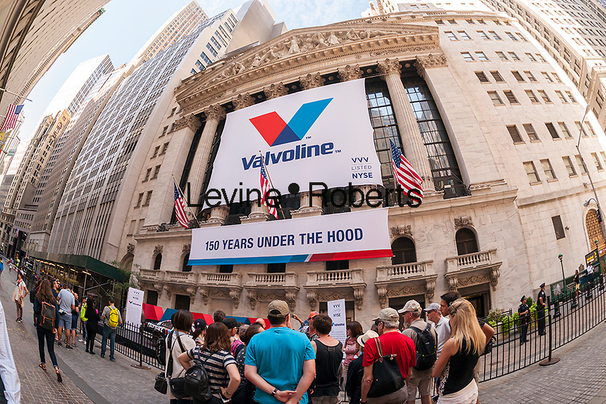 """The New York Stock Exchange is decorated on Friday, September 23, 2016 for the initial public offering of the motor oil and other fluids manufacturer, Valvoline. The company has been in business 150 years and it is being spun off from its owner Ashland, a maker of specialty chemicals. Valvoline will trade under the symbol """"VVV"""".(© Richard B. Levine)"""