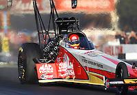 Nov 13, 2016; Pomona, CA, USA; NHRA top fuel driver Doug Kalitta during the Auto Club Finals at Auto Club Raceway at Pomona. Mandatory Credit: Mark J. Rebilas-USA TODAY Sports