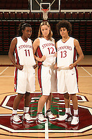 10 October 2006: Candice Wiggins, Christy Titchenal and Cissy Pierce on picture day at Maples Pavilion in Stanford, CA.