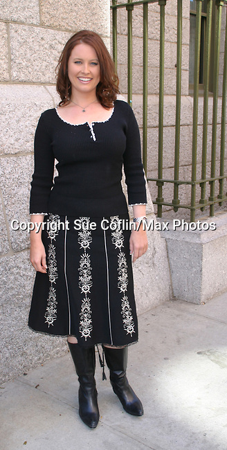 """One Life To Live's Melissa Archer  """"Natalie Buchanan"""" takes a break outside the OLTL studio on 9-21-06. (Photo by Sue Coflin/Max Photos)"""