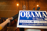 Chicago, IL - 2004:  State Senator Barack Obama speaking at a campaign rally in 2004 at the Broadway Armory in the Rogers Park neighborhood of Chicago, Illinois. Obama, an Illinois State Senator was campaigning for a United States Senate seat.