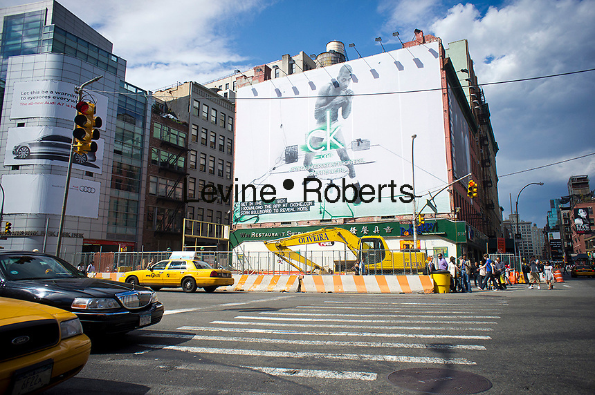 A Calvin Klein billboard in the Soho neighborhood of New York on Saturday, May 7, 2011. Klein's advertisements use sex and provocative images to test society's cultural and moral boundaries. (© Richard B. Levine)