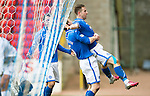 St Johnstone v Hibs...22.03.14    SPFL<br /> Steven MacLean celebrates his goal with Steven Anderson and Stevie May<br /> Picture by Graeme Hart.<br /> Copyright Perthshire Picture Agency<br /> Tel: 01738 623350  Mobile: 07990 594431