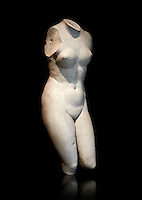 2nd century Roman marble torso copy of the statue of Aphrodite of Cnidus by Praixitele. Many Roman replicas exist of the Aphrodite of Cnidus which is one of the most famous statues of antiquity. The statue depicts the goddess bathing with a vase of water beside her. The lost original is a Hellenistic Greek sculpture made in 360-350 BC which is attributed to Athenian sculpture Praxiteles. Tradition has it that the model for the original was the lover of sculptor Phryne. The original is the oldest known female nude in Greek sculpture. Louvre Museum, Paris. Usual No 2184