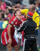 Toronto, Ontario - May 17, 2014: Toronto FC defender Nick Hagglund #17 is attended to by the Toronto FC trainer in the second half during a game between the New York Red Bulls and Toronto FC at BMO Field. Toronto FC won 2-0.