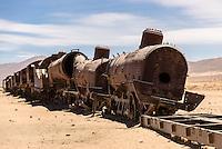 A derelict train in the train cemetery, near Uyuni - a stop on every tour of the Salar de Uyuni.