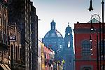 Mexico, Mexico City, Emiliano Zapata Street, Pedestrian Way, Iglesia de la Santisima Trinidad<br /> <br /> The historic architecture of pedestrian friendly Emiliano Zapata Street leads from the Zocalo  to the 18th century national monument, the Iglesia de la Santisima Trinidad.