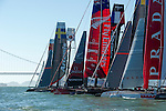 Emirates Team New Zealand crosses the line for a start in official practice for the San Francisco America's Cup World Series regatta. 2/10/2012